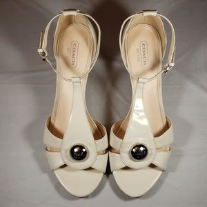Coach Hellena Cream Open Toe Heel Sandal